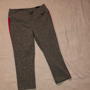 Grey/ pink tight fit workout leggings